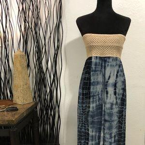 Elan Beach Blue & White Tie-Dye Slit Front Top